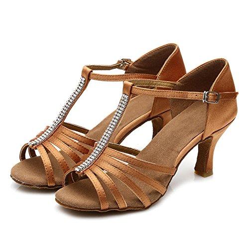 Dance Women's Brown UK227 Satin Shoes Latin Model Shoes 7cm Ballroom HIPPOSEUS 7dCaxC