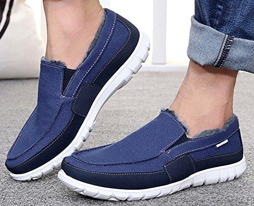 Idifu Heren Casual Lage Top Slip Op Winter Instappers Schoenen Namaakbont Bekleed Canvas Sneakers Blauw