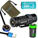 5 x 5 master flash - Olight S1R Turbo S rechargeable 900 Lumens CREE XP-L LED Flashlight EDC with RCR123 Li-ion battery, flex magnetic USB charging cable and EdisonBright CR123A Lithium back-up Battery bundle