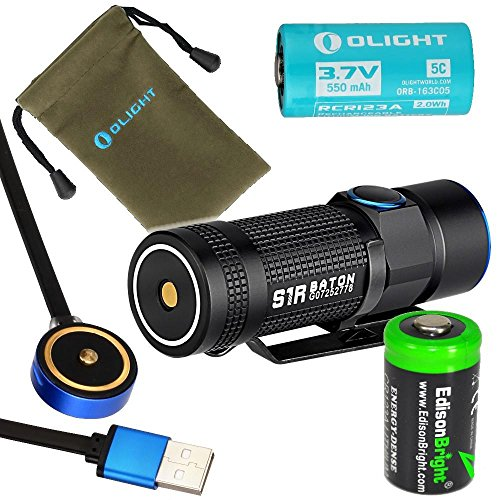 Olight S1R Turbo S rechargeable 900 Lumens CREE XP-L LED Flashlight EDC with RCR123 Li-ion battery, flex magnetic USB charging cable and EdisonBright CR123A Lithium back-up Battery bundle