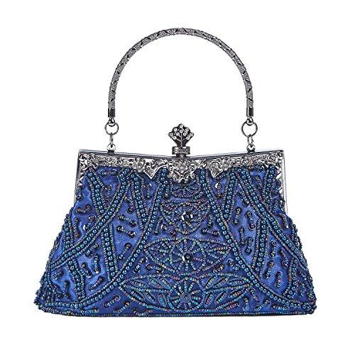 Kisschic Women's Vintage Beaded and Sequined Evening Bag Wedding Party Handbag Clutch Purse