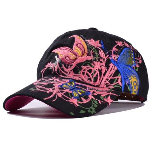 Deer Mum Ladies Denim Jean Campagne Embroidered Ajustable Baseball Cap Cowboy Hat (Black)