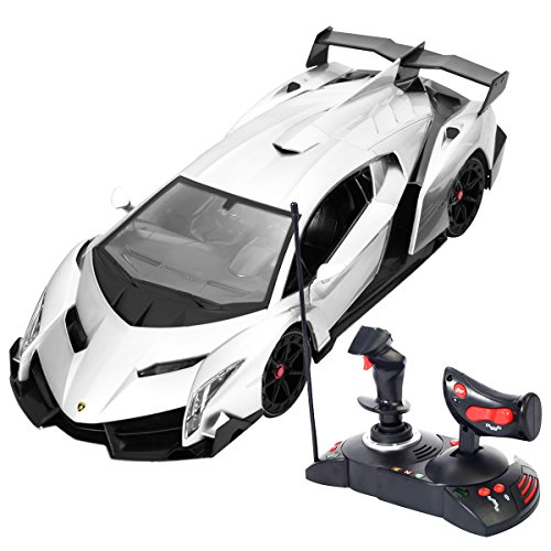 Goplus 1/14 Scale RC Lamborghini Veneno Radio Remote Control Toy Car for Kids (Gray)