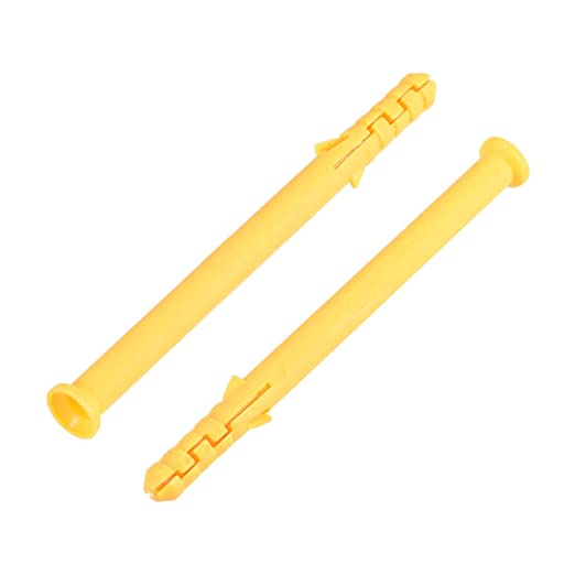 uxcell 8X35mm Plastic Expansion Pipe Column Concrete Anchor Wall Plug Frame Fixings Tube Yellow 100pcs