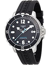 Men's T0664071705702 Seastar Analog Display Swiss Automatic Black Watch