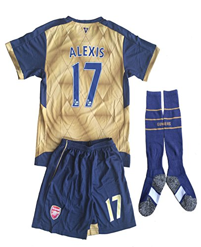 0ca341239 Galleon - 2015 16 Arsenal Kids Away Golden Alexis  17 Youths Children  Football Soccer Jersey   Short   Socks (9-10 Years Old)