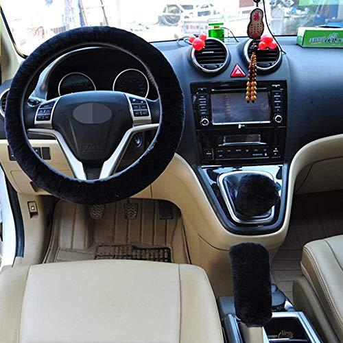 Pesp Non-slip Car Decoration Steering Wheel Handbrake Gear Shift Cover Plush New (Black)