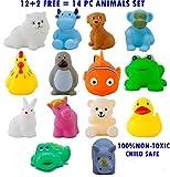 KP SALES 14 Piece Toddler Baby Bathtub Bathing Chu Chu Squeeze Bath Toys Non-Toxic BPA Free, Animal Shape