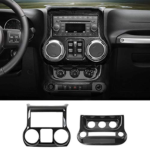 RT-TCZ Carbon Fiber Central Control Decoration Interior Trim Kit, Accessories for Jeep Wrangler JK JKU 2011-2017