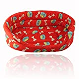 Prettysell Cute Round Comfortable Indoor House Shelter Pet Beds Red -21.2in. × 16.1in. × 5.9in. XL