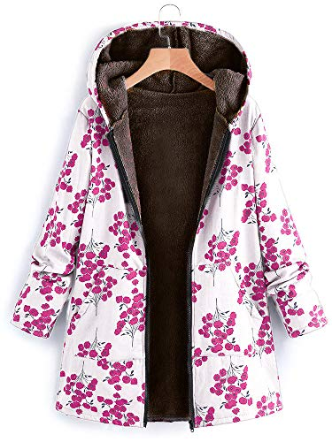 Vintage Manteaux Imprimé Floral Chaud Automne Femmes Hiver Poches Vêtements Hooded Fleurs Blanc Huateng Avec wTRYq1x