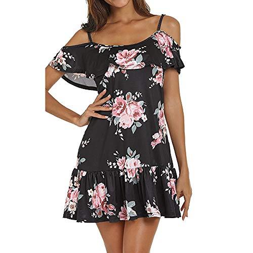 Chaofanjiancai_Dress for Women Summer Cold Shoulder Casual Mini Dresses Floral Sexy Spaghetti Dress Black