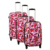 Dejuno Pop Art 3-Piece Lightweight Hardside Spinner Luggage Set, Pink