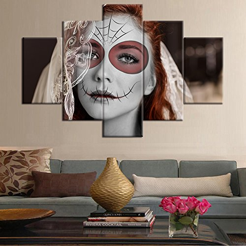 5 Piece Halloween Painting Face Figures Dia De Los Muertos Canvas Day of the Dead Wall Art HD Printed All Saints Day Pictures for Living Room Modern Home Decor Gallery-wrapped Framed (60''Wx40''H) - Venetian Wall Art