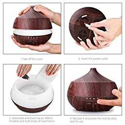 Tenswall 400ml Aroma Ultrasonic Essential Oil Diffuser - Black Wood Grain Design Humidifier - Home Office Scent cool Air Freshener - Changing LED Light - Various Mist Light Modes