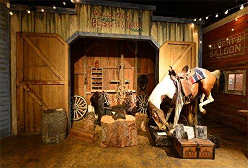 CSFOTO 5x3ft Background for Wild West Stage Saloon Photography Backdrop Old West Stable Anvil Saddle Tree Trunk Rope Lantern Horse Retro Nostalgia Cowboy Tour Photo Studio Props Vinyl Wallpaper]()