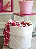 Storage Basket - Cotton Rope Storage Baskets with Handles, 15'x 15'x 13', Decorative Color Design, Perfect for Toy Storage, Nursery Storage and Laundry Basket - Large, Off White