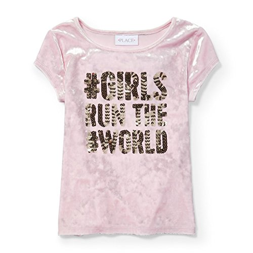 The Children's Place Big Girls' Short Sleeve Fashion Top, Pink Admirer 5575, L (10/12)