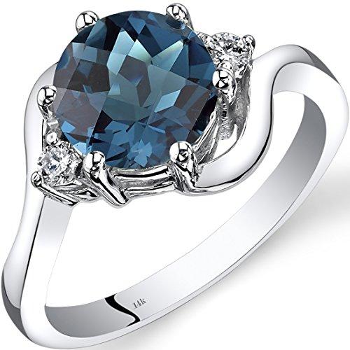 14K White Gold London Blue Topaz Diamond 3 Stone Ring 2.25 Carat ()