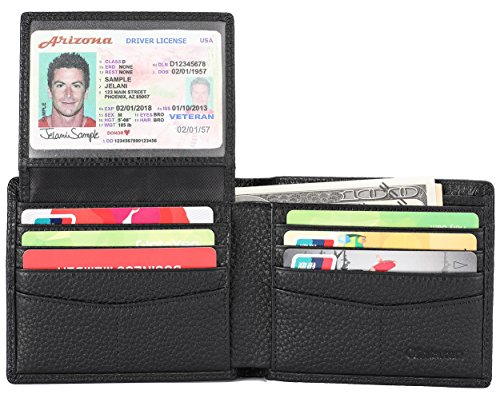 Mens Genuine Leather Bifold Wallet with 2 ID Window and RFID Blocking - Natural Grain Black