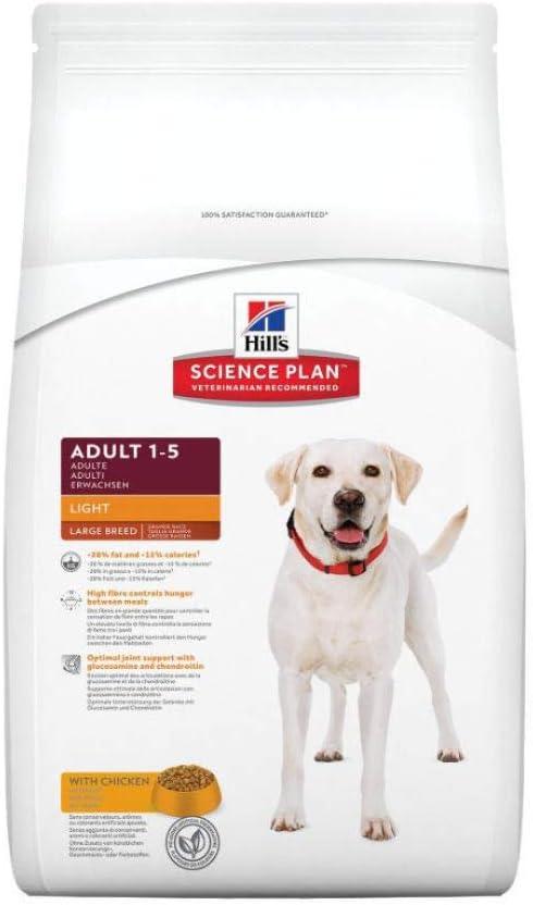 Hills Science Plan Light - Comida ligera (light) para perros adultos de razas grandes, con pollo (12 kg).