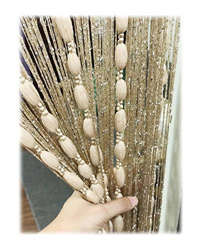 Eyotool Door String Curtain Flat Silver Ribbon Thread with Shaggy Tassel Room Divider, 39''x79'', (Gold-style2) (Beads Hanging Door Wooden)