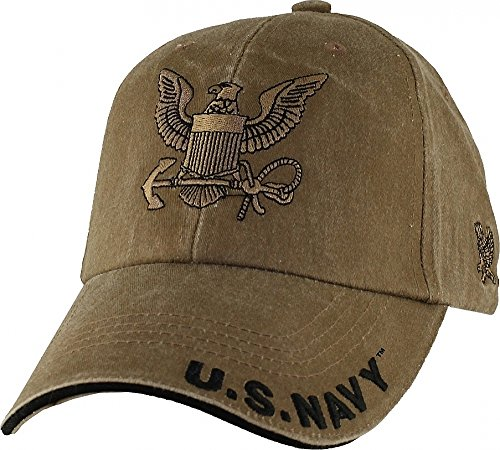 U.S. Navy Insignia Hat - USN Coyote Brown Washed Cap 6648
