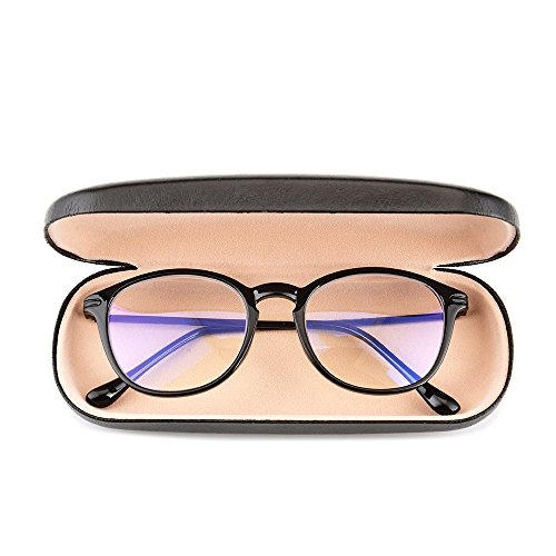 Gudzws Computer TV Reading Glasses Anti Blue Light Readers Reduce Eyestrain Retro Stylish Round Frame Black with Hard Case Unisex +1.50