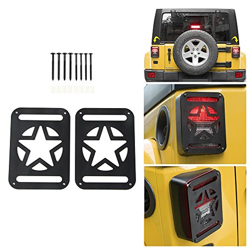 JeCar Tail Light Covers,Taillight guards for Rear Taillights 2007-2017 Jeep Wrangler JK Unlimited Accessories – Pair (Pentagram)