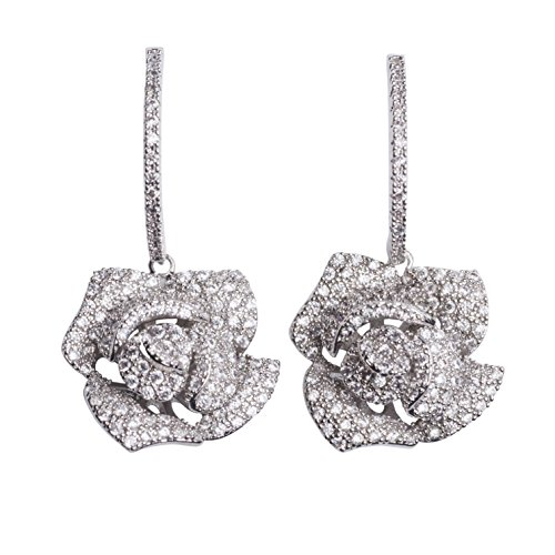 MISASHA Inspired Design Real White Gold Plated zircon camellia flower party wedding gift earrings studs