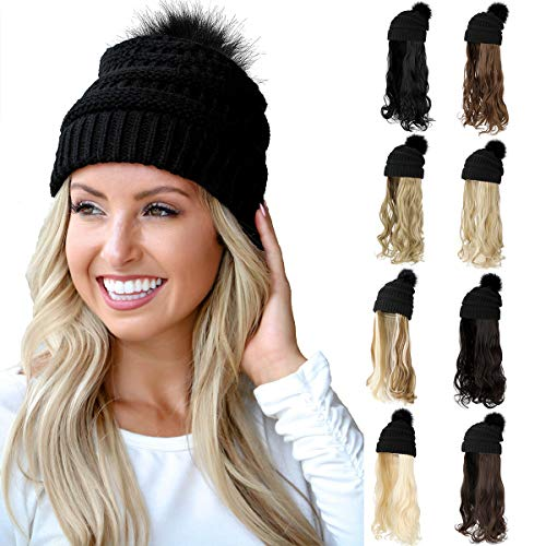 Qlenkay Beanie Hat Knit with Long Wavy Curly Hair Extensions Wig Dismountable Warm Knitted Pom Cap Attached 20inch…