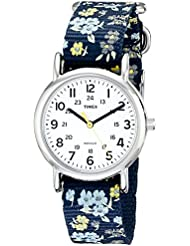 Timex Womens T2P370 Weekender Blue Floral Nylon Slip-Thru Strap Watch