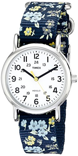 Timex Women's T2P370 Weekender Blue Floral Nylon Slip-Thru Strap Watch ()
