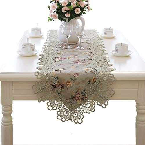 Vintage Green Burgundy Lace Table Flag Dressing Table Scarf Embroidery Flower (Color : 40150cm)