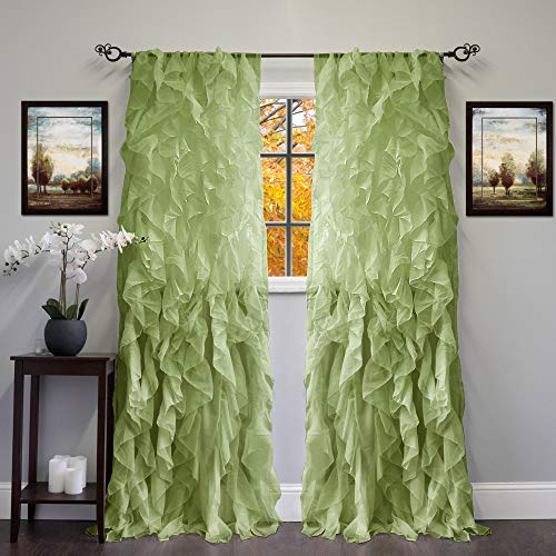 Sweet Home Collection 2 Pack Window Panel Sheer Voile Vertical Ruffled Waterfall Curtains 84