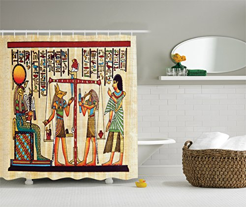 Ambesonne Egyptian Decor Collection, Papyrus with Egyptian Ancient Manuscript History Picture Print, Polyester Fabric Bathroom Shower Curtain Set with Hooks, Ivory Paprika - Egyptian Print Fabric