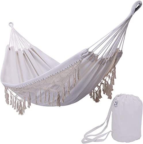 ONCLOUD Boho Large Brazilian Fringed Macram Double Deluxe Hammock Swing Bed with Carry Bag for Patio, Porch, Bedroom, Yard, Beach, Indoor, Outdoor Wedding Party Decor, White