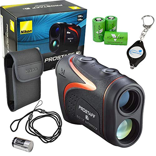 Nikon Prostaff 7i Laser Rangefinder Waterproof Compact Lightweight Bundle with 3 Extra Viridian CR2 Batteries and a Lumintrail Keychain Light