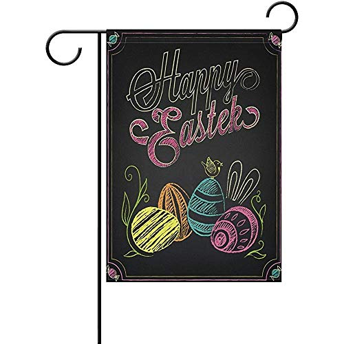 Fashbag Happy Easter Eggs Chalk Art Polyester Garden, used for sale  Delivered anywhere in Canada