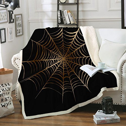 Sleepwish Halloween Spider Web Blanket Gold Webs Soft Fleece Throw Blanket Black Blankets for Nap Couch Bed Kids Adults (50