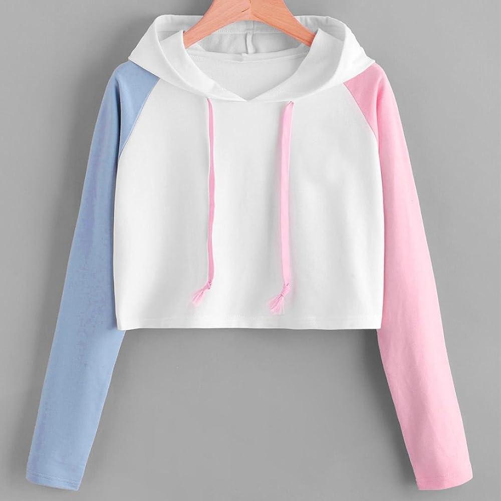 8dbe412c78b Girl Hoodie Crop Top for Women Asymmetrical Long Sleeve Shirt Cute Blouse  Casual