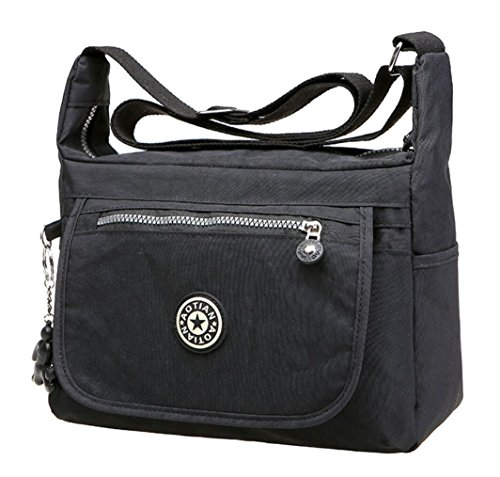 de89d6e6f1 Galleon - Bagtopia Large Capacity Casual Crossbody Bag Waterproof Nylon  Shoulder Messenger Bags Purse For Women (Medium Size - Black)