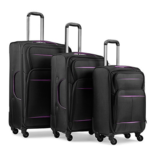 Luggage Set Suitcase Set 3 Piece Luggage Lightweight Soft Shell with 4 Rolling Spinner Wheels Super Durable (20 inch, 24 inch, 28 inch) (Black & purple) by LEMOONE (Image #2)