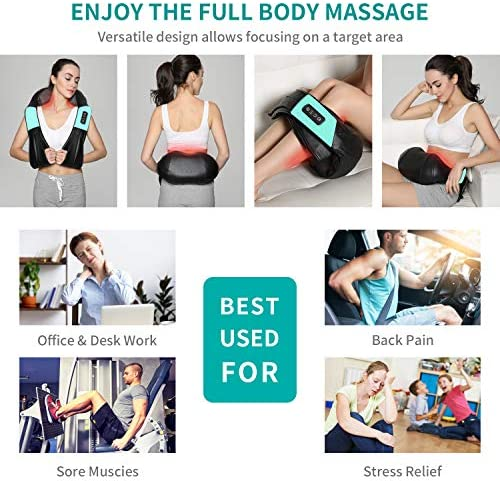 Nekteck Shiatsu Neck and Back Massager with Soothing Heat Electric Deep Tissue 3D Kneading Massage