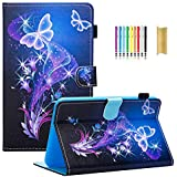 """Dteck for Samsung Galaxy Tab E 8.0"""" Case- Slim Lightweight Stand Folio Cover Case [Card Slot] Wallet Case for Samsung Tab E 8.0 SM-T378 / Tab E 8.0-inch SM-T375 / SM-T377 Tablet, Purple Butterfly"""