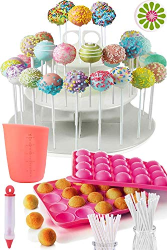 COMPLETE CAKE POP MAKER KIT - Jam packed with silicone cakepop baking mold, 120 lollipop sticks, candy and chocolate melting pot, decorating pen, bags, twist ties & 3-Tier display stand holder