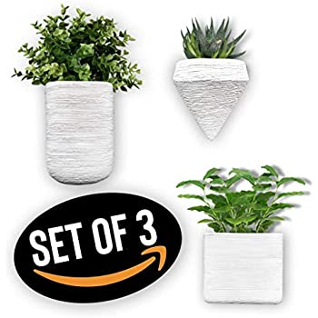 Doon Designs Ceramic Wall Planter - Wall Hanging Planters, Wall Planter, Air Planter, Great for Succulents, Air Plants, Faux Plants Set of 3 - White