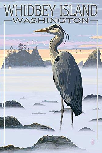 Whidbey Island, Washington - Blue Heron Collectible Art Print, Wall Decor Travel Poster