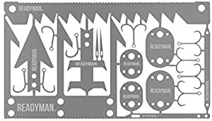 READYMAN Wilderness Survival Card credit card sized 22 in 1 metal survival tools that you can carry in your wallet, contains arrowhead, small game arrowhead, fishing hooks, and more