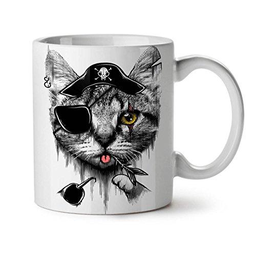 Cute Pirate Kitten Sailor Cat White Tea Coffee Ceramic Mug 11 oz | - Cute Pirate